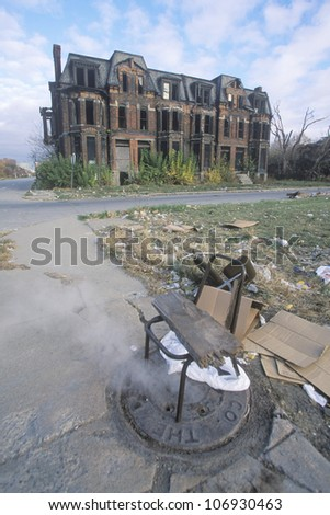 CIRCA 2002 - Steam escaping from manhole with chair, Detroit, Michigan