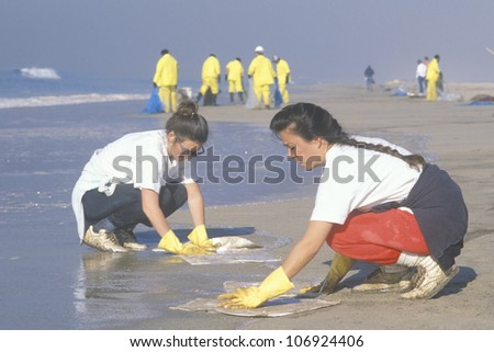 CIRCA 1990 - Two women participating in an environmental clean up in Huntington Beach, California