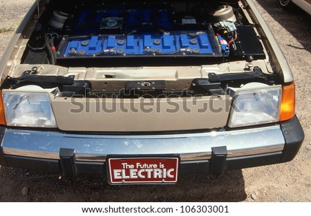 CIRCA 1992 - Under the hood of an electric battery powered car at the Solar and Electric 500 in Phoenix, Arizona