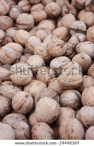 Circassian walnuts. Focus at center - stock photo