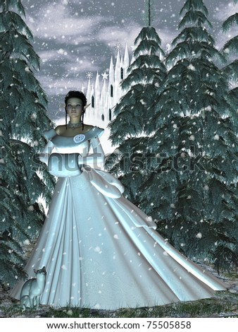 stock photo : Circe Nymph Snow Queen a fairy princess walking through the ...