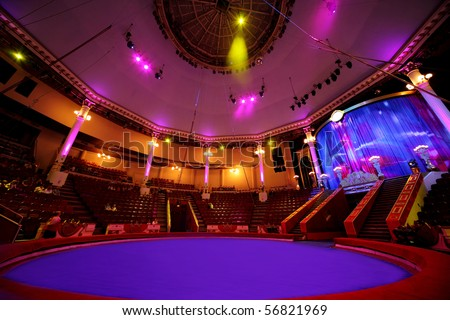 circle arena in circus purple light lamps general view on celling
