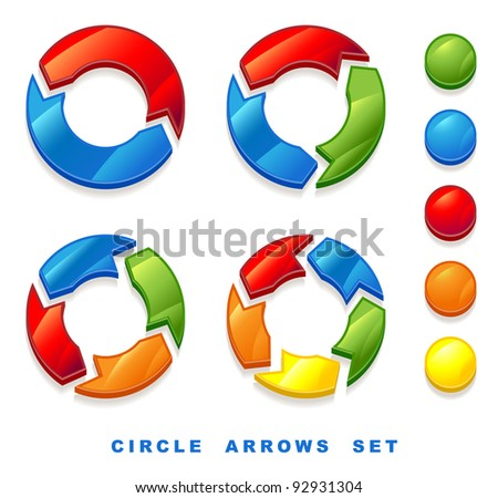 Circle arrows set.  Raster version.
