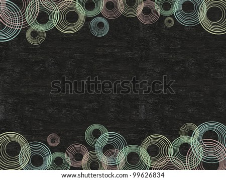 circle background colorful written on blackboard background