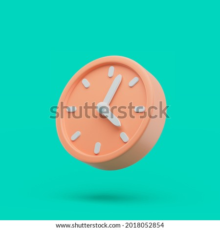Circle clock icon. Simple 3d render illustration on vibrant background.