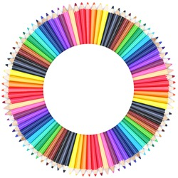 Circle color chart made of color pencils