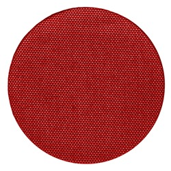 circle cut from red synthetic fabric on white