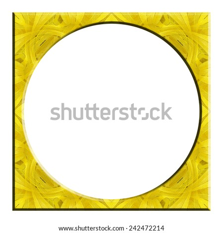 circle frame from color wooden isolated on white background