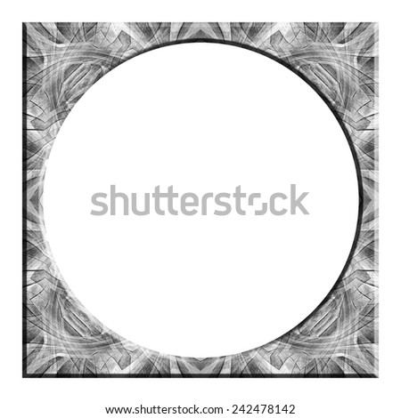 circle frame from wooden isolated on white background