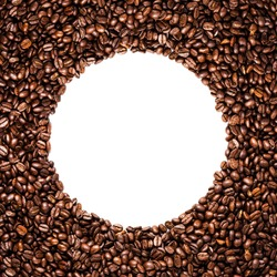Circle frame of coffee beans isolated on white background may use as background or texture