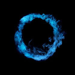 circle from blue colorful smoke isolated on black background