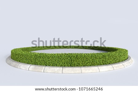 circle green grass botany island with concrete floor, 3D illustration of round plant stage for event concept