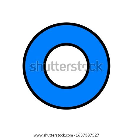 Circle icon. Simple figure, blue figure.