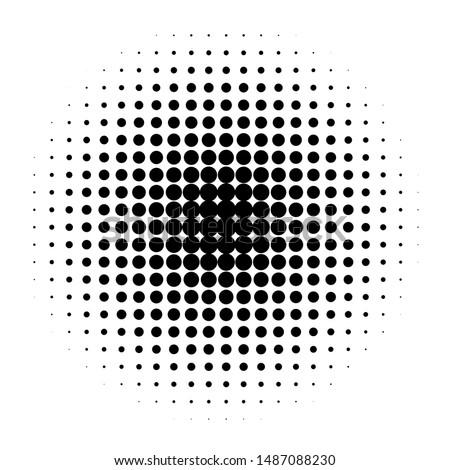 Circle in Halftone, Halftone Dot Pattern, Raster Illustration.
