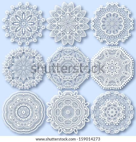 Circle lace ornament, round ornamental geometric doily pattern, christmas snowflake decoration, raster version