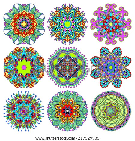 Circle lace ornament, round ornamental geometric doily pattern collection. Raster version