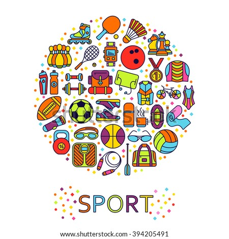 Circle made of line icons. Sport, fitness and recreation equipment. Rafting and kayaking. Info graphic elements. Simple design.