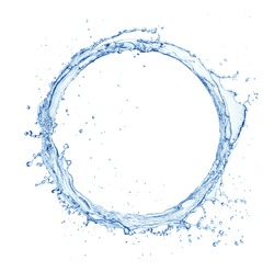 circle made of water splashes isolated on white background