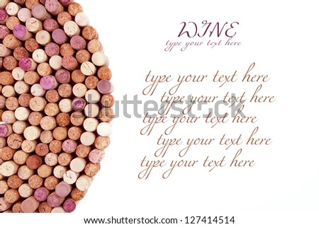Circle made of wine corks on white background with empty space for text.