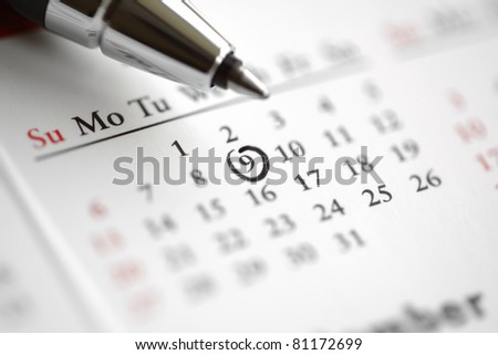 Circle marked on a calendar concept for an important day or reminder