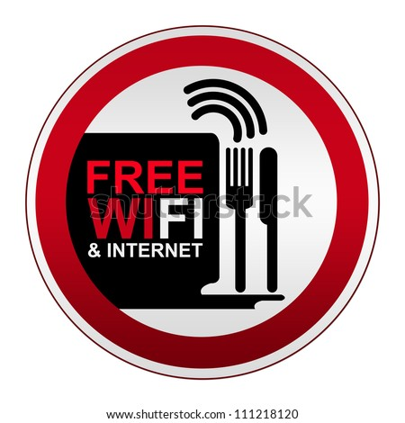 Circle Metallic Style Free WiFi and Internet Icon With Coffee Cup Sign Isolate on White Background