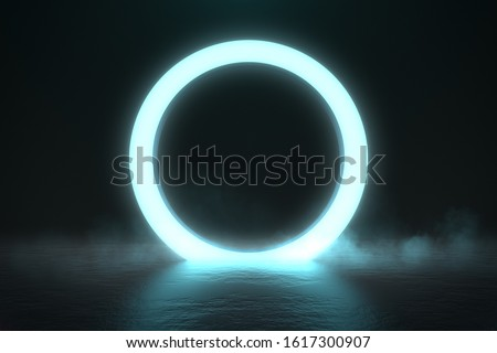 Photo of  Circle neon light in black hall room, futuristic concept, Abstract geometric background, Product display, Scene, 3D Rendering.