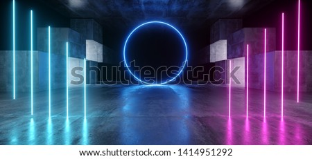 Circle Neon Lights Graphic Glowing Purple Blue Vibrant Virtual Sci Fi Futuristic Tunnel Studio Stage Construction Garage Podium Spaceship Night Dark Concrete Grunge 3D Rendering Illustration