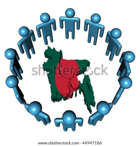 Circle of abstract people around Bangladesh map flag illustration