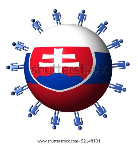 circle of abstract people around Slovakian flag sphere illustration