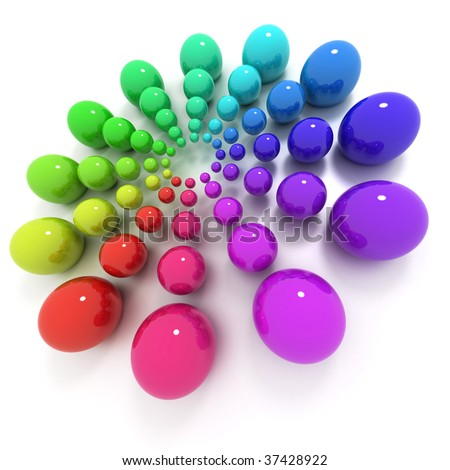 Circle of balls with different sizes and colors - stock photo