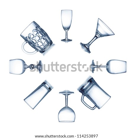 Circle of clean empty glassware isolated