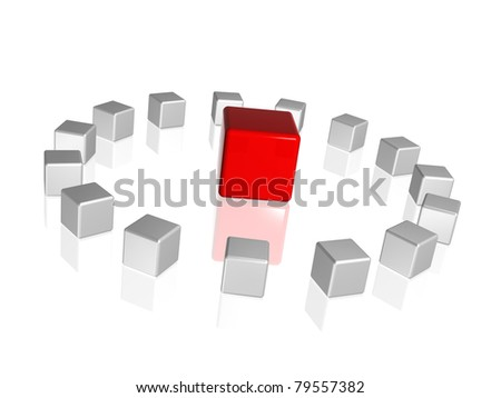 circle of 3d white-grey cubes with one red in the middle