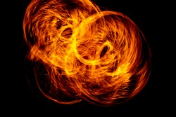 Circle of Fire flame with movment isolated on black isolated background - Beautiful yellow, orange and red and red blaze fire flame texture style.