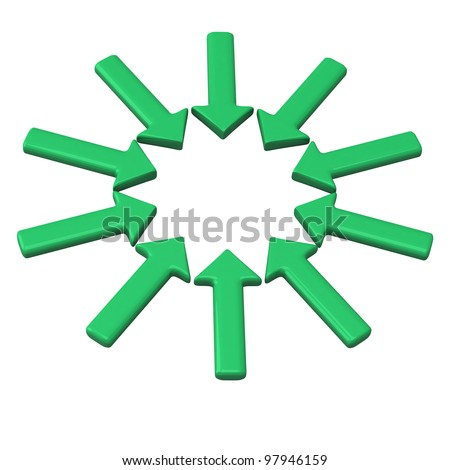 Circle of green arrows pointing in one direction with blank space in the center 3d