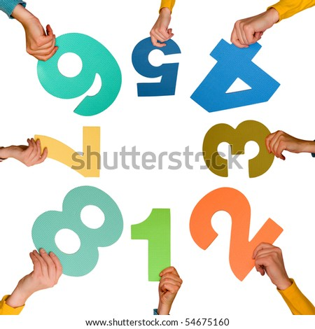 circle of hands with numbers,isolated on white