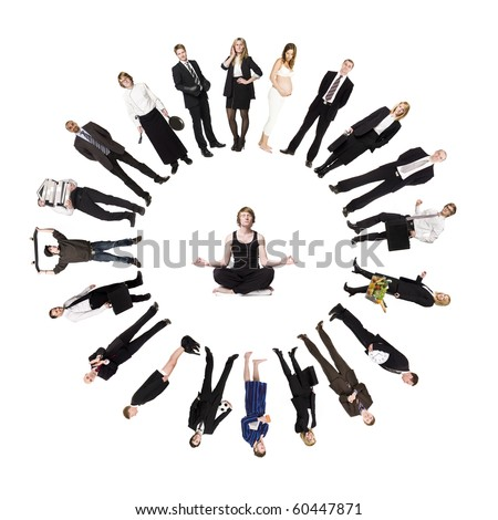 Circle of real people with a man meditating in the middle