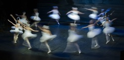 Circle of swan girl in the performance of Swan Lake of Pyotr Tchaikovsky and Petipa