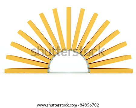 Circle of yellow 3D books like sunbeams on white background