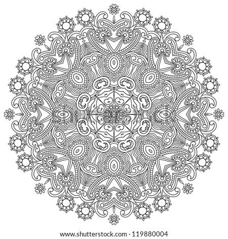Circle ornament, black and white ornamental round lace. Raster version