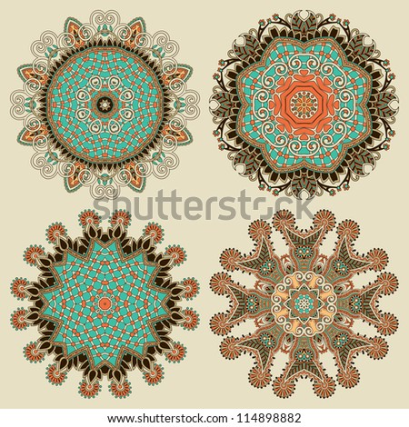 Circle ornament, ornamental round lace collection. Raster version