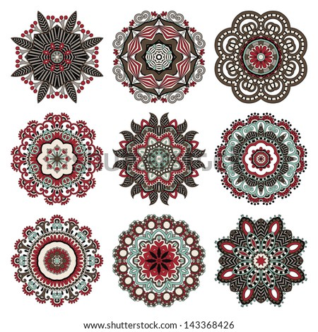Circle ornament, ornamental round lace collection, raster version
