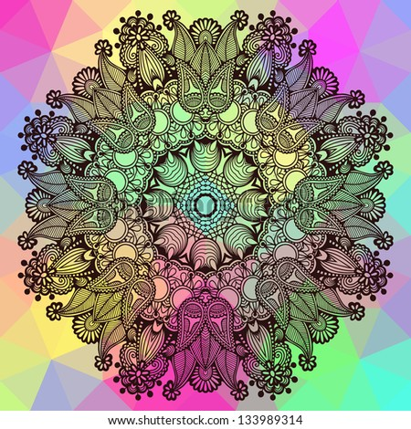Circle ornament, ornamental round lace on geometric background, raster version
