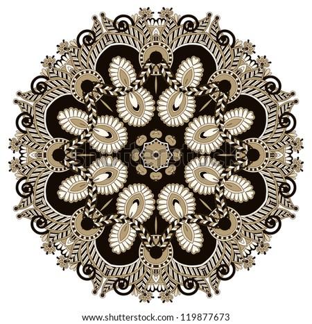 Circle ornament, ornamental round lace. Raster version