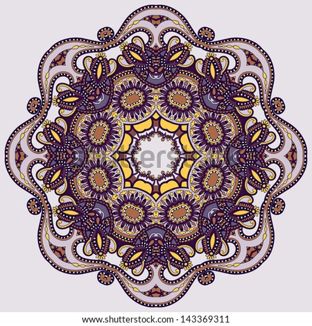 Circle ornament, ornamental round lace, raster version