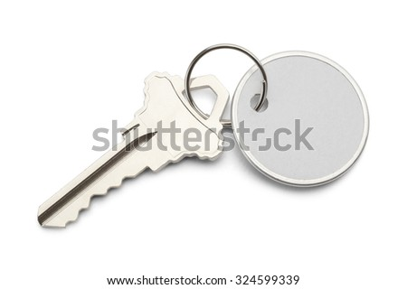 Circle Paper Tag with Copy Space and Key Isolated on White Background. #324599339
