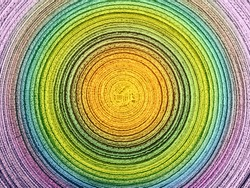 Circle Pattern of Material in colors of yellow, orange, green, blue and pink