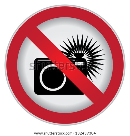 Circle Prohibited Sign For No Flash or No Camera Sign Isolate on White Background