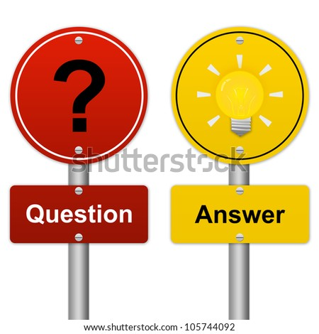 Circle Question and Answer Road Sign in Metallic Style Isolated on White Background