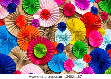 circle radial  pattern origami paper craft  colorful background