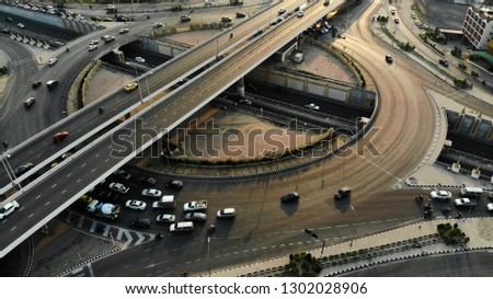 Circle rama 5 Road of Expressway top view, Road traffic an important infrastructure in Thailand #1302028906